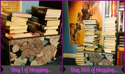 How my never ending book basket grew over the last 365 days...