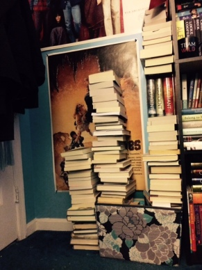 Let's all take a moment to look at the ridiculousness that is my overflowing never ending book basket...